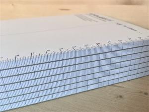 notitieblokjes, memoblokjes of schrijfblokjes in elk formaat of uitvoering.