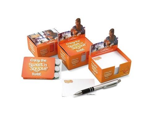 mijndrukker.nl Mentos Notitiebox. Met of zonder Mentos en met of zonder pen. Volledig in jouw eigen ontwerp en vorm.