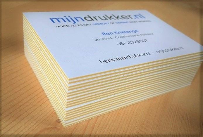 mijndrukker.nl dikke visitekaartjes met gele tussen laag