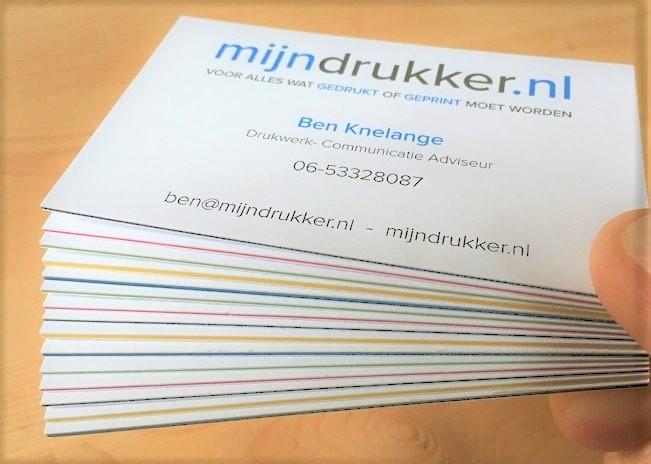 mijndrukker.nl dikke visitekaartjes met gekleurde tussen laag