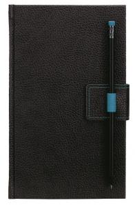 mijndrukker.nl Designer Notebooks Custom Made met penlus op voorzijde en potlood in blauw (11)