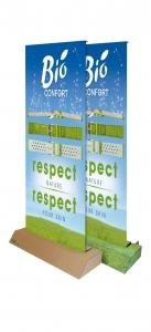 Van deze Roll-up Banners of Rolbanners kan de voet als bruin karton geleverd worden maar de voet kan ook bedrukt worden in hetzelfde doorlopende design.