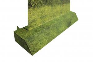 Ook de voet of standaard is volledig te bedrukken waardoor deze bijvoorbeeld te integreren is in het totale design van de Roll-up Banner.