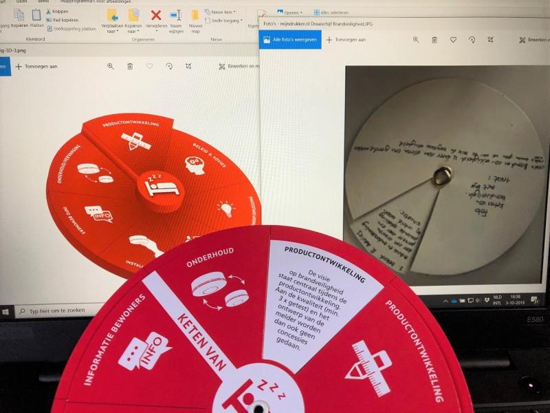 Deze afbeelding laat het proces zien van de ontwikkeling van een Draaischijf van Karton of van Papier. Online waren ze al zichtbaar, daar vanuit werd een papieren model ontwikkeld waarvan na wat aanpassingen de echte Draaischijven werden gemaakt.