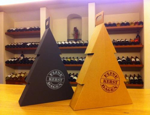 Bijzondere Kerst Wijn Geschenk Verpakking in Kerstboomvorm