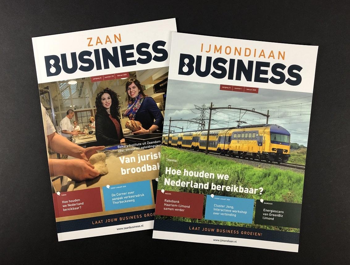 Zakelijke Bladen of bedrijfsbladen IJmondiaan Business en Zaan Business toegevoegd aan het portfolio van mijndrukker.nl