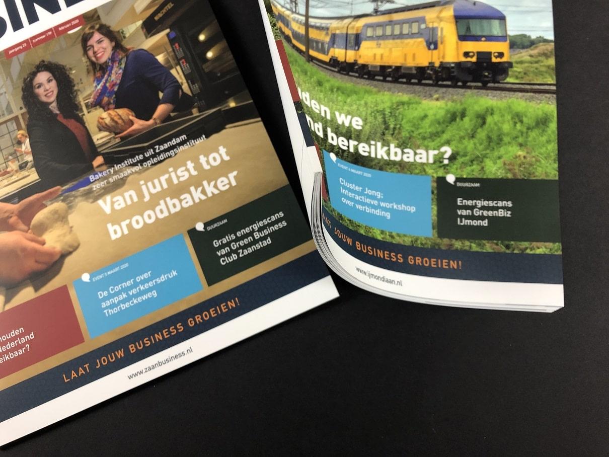 Zakelijke Bladen of bedrijfsbladen IJmondiaan Business en Zaan Business met rechte rug zonder nietjes al vanaf 24 pagina's binnenwerk