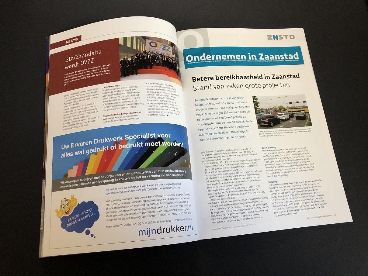 Zakelijke Bladen of bedrijfsbladen IJmondiaan Business en Zaan Business met advertentie van mijndrukker.nl