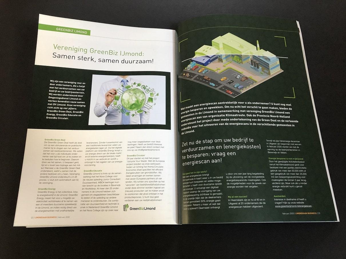 Zakelijke Bladen of bedrijfsbladen IJmondiaan Business en Zaan Business vol prachtige ondernemersartikelen