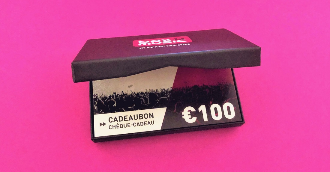 mijndrukker.nl - Bax Music Cadeaubondoosjes Cadeaubonnen Gift Cards - interieur tafeltje waardoor de cadeaubon hoog komt te liggen